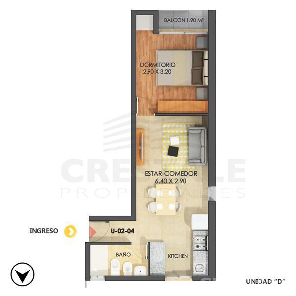 Venta departamento 1 dormitorio Rosario, zona Centro. Cod 4596. Crestale Propiedades