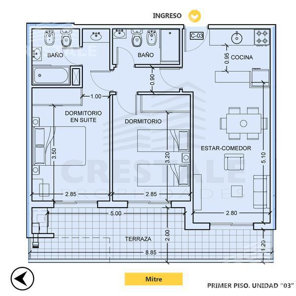 Venta departamento 2 dormitorios Rosario, zona Centro. Cod CBU8133 AP644506. Crestale Propiedades