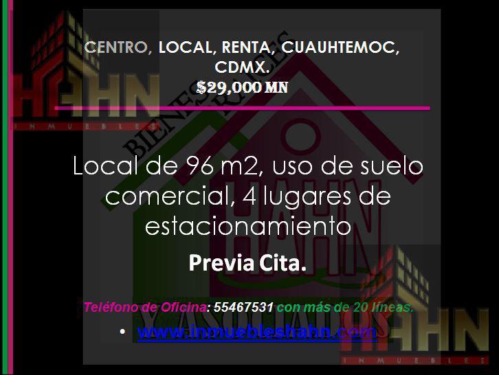 Foto Local en Renta en  Cuauhtémoc,  Cuauhtémoc  CENTRO, LOCAL, RENTA, CUAUHTEMOC, CDMX.