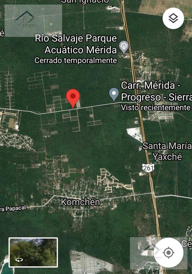 Foto Terreno en Venta en  Pueblo Komchen,  Mérida    Lote en venta sobre carretera Komchen a Sierra Papakal kilometro 2 de la carretera Federal Mérida a Progreso