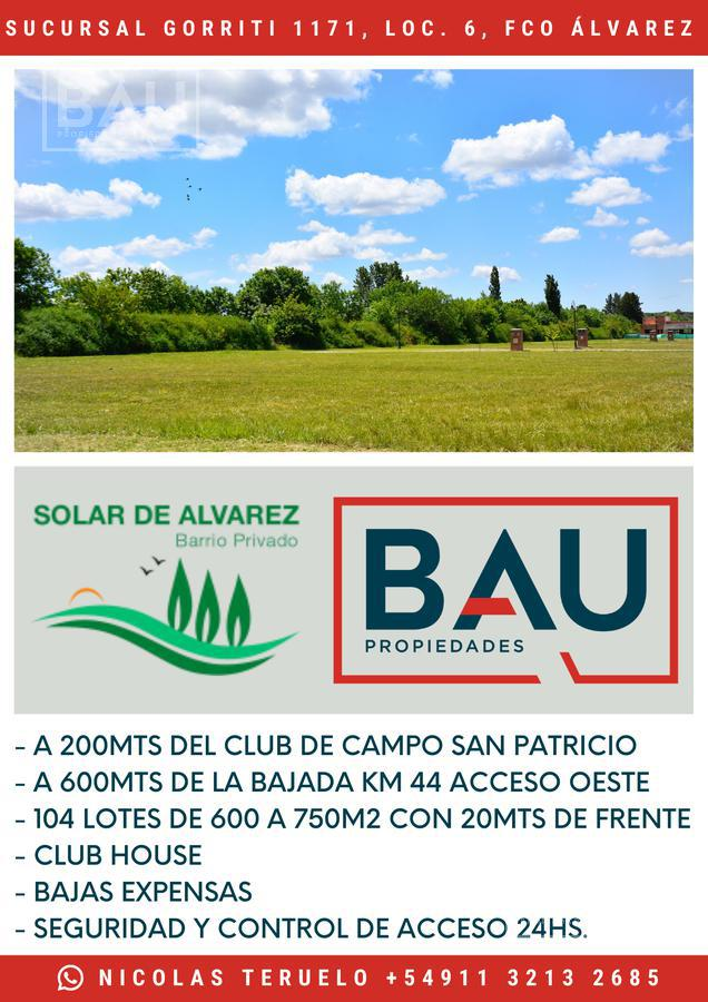 Foto Terreno en Venta en  Solar de Álvarez,  Francisco Alvarez  Carola Lorenzini al 4600