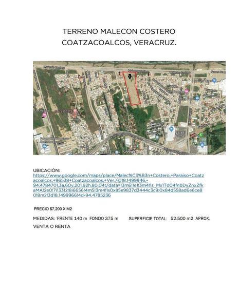 Foto Terreno en Venta en  Celanese,  Coatzacoalcos  TERRENO EN VENTA EN MALECON COSTERO EN COATZACOALCOS VERACRUZ