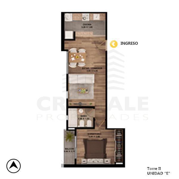 Venta departamento 1 dormitorio Rosario. Cod CBU7867 AP832523. Crestale Propiedades