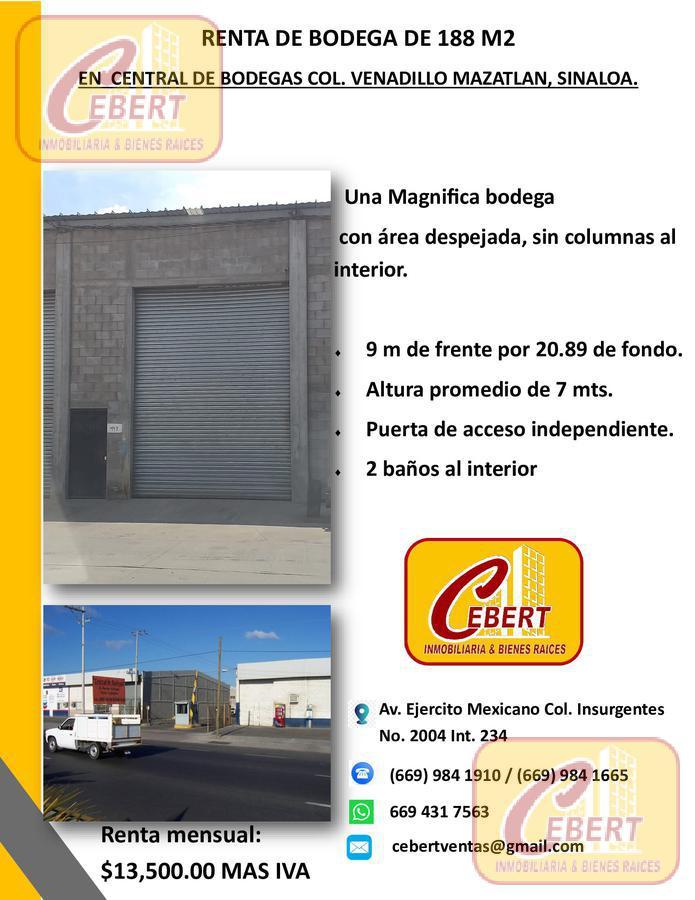 Foto Bodega Industrial en Renta en  Mazatlán ,  Sinaloa  RENTA DE BODEGA DE 188 M2 EN MAZATLAN SIN. EN EL VENADILLO