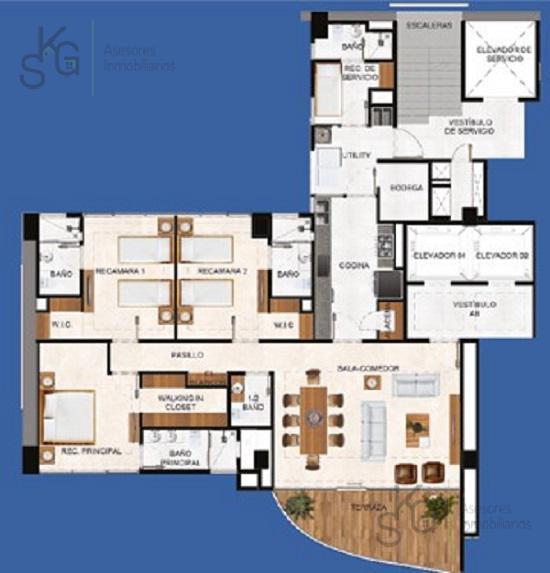 Foto Departamento en Venta en  Bosque Real,  Huixquilucan  Boulevard Bosque Real Residencial Blue