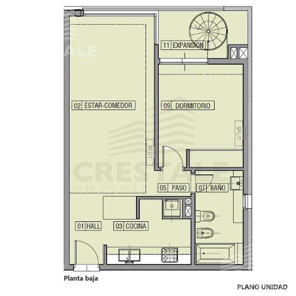 Venta departamento 1 dormitorio Funes, zona Funes. Cod 2577. Crestale Propiedades