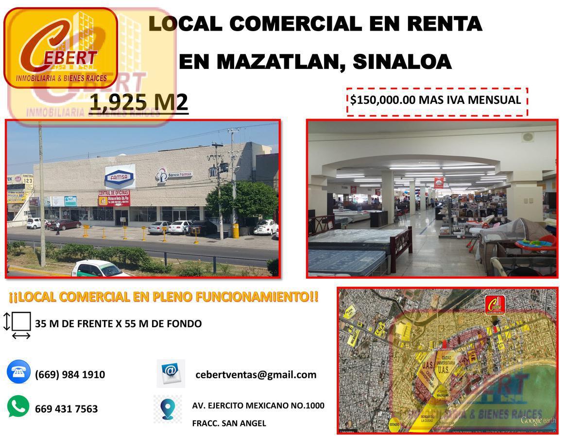 Foto Local en Renta en  Mazatlán ,  Sinaloa  MAGNIFICO LOCAL COMERCIAL EN RENTA EN MAZATLAN SINALOA  1925 M2