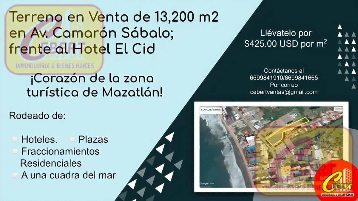 Foto Terreno en Venta en  Fraccionamiento El Cid,  Mazatlán  Magnifico Terreno de 13,200 m2 en Avenida Camarón Sábalo