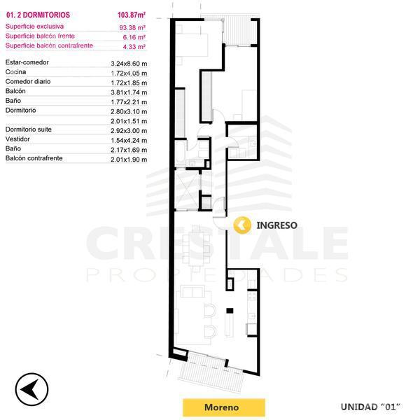 Venta departamento 2 dormitorios Rosario, zona Parque España. Cod CBU9890 AP731568. Crestale Propiedades