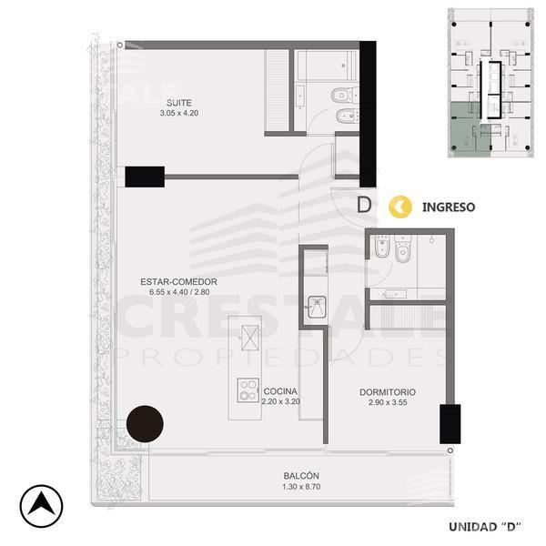 Venta departamento 2 dormitorios Rosario, zona Pichincha. Cod CBU10856 AP1061246. Crestale Propiedades