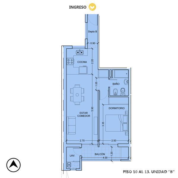 Venta departamento 1 dormitorio Rosario, zona Centro. Cod CBU11637 AP1161829. Crestale Propiedades