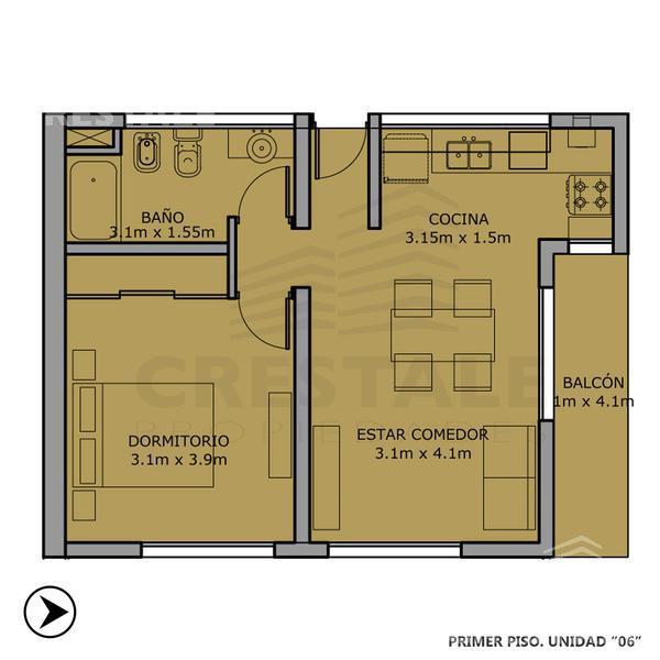 Venta departamento 1 dormitorio Funes, zona Centro. Cod CBU8476 AP665429. Crestale Propiedades