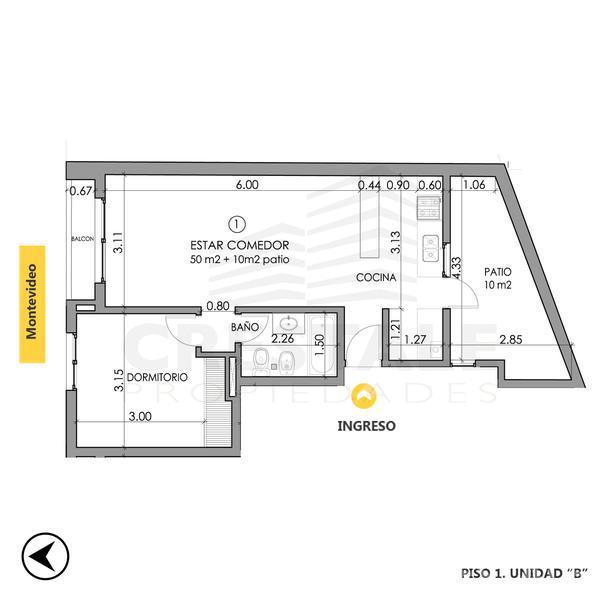 Venta departamento 1 dormitorio Rosario, zona Centro. Cod CBU10482 AP1014401. Crestale Propiedades