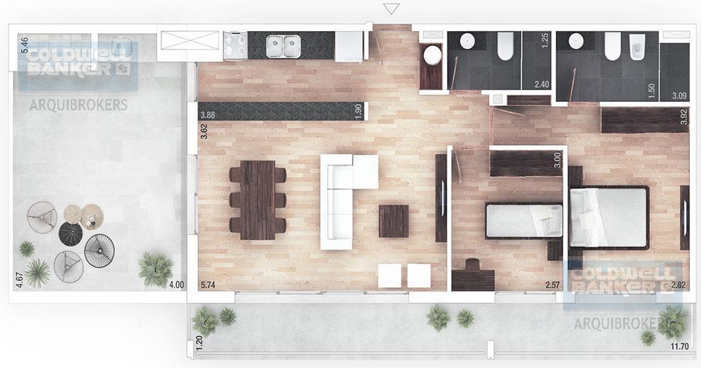 Foto Apartamento en Venta en  Pocitos ,  Montevideo  Apartamento penthouse de 2 dormitorios en venta en Pocitos