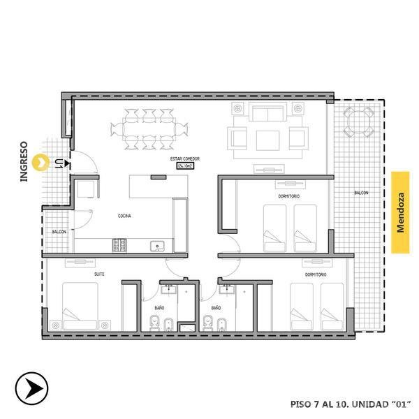 Venta departamento 3+ dormitorios Rosario, zona Centro. Cod CBU11967 AP1153519. Crestale Propiedades