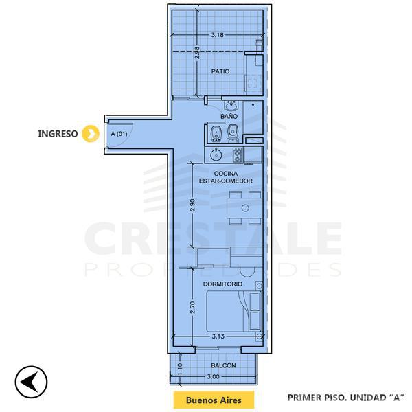Venta departamento 1 dormitorio Rosario, zona Abasto. Cod CBU8052 AP636837. Crestale Propiedades
