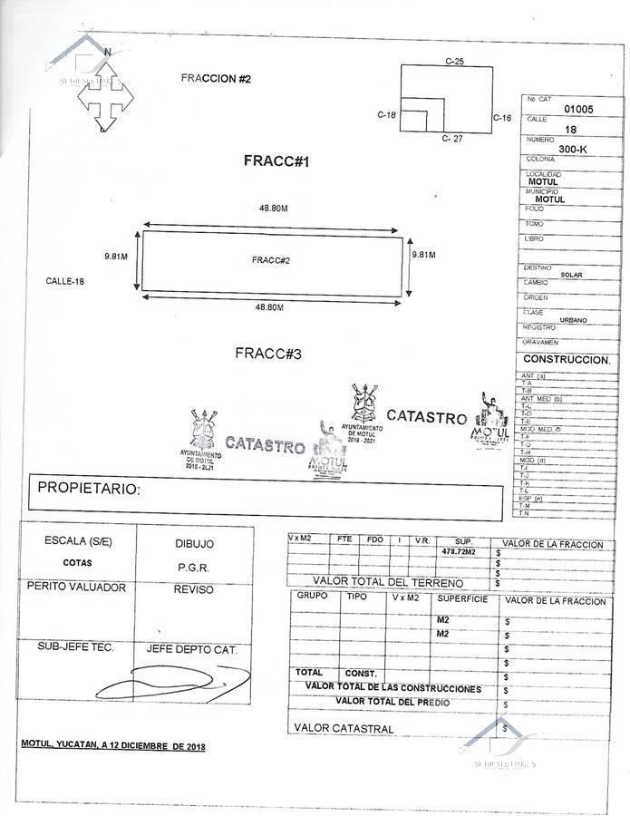 Foto Terreno en Venta en  Motul de Carrillo Puerto Centro,  Motul  Lotes en venta en Motul, centro ideal casa habitación  o negocio