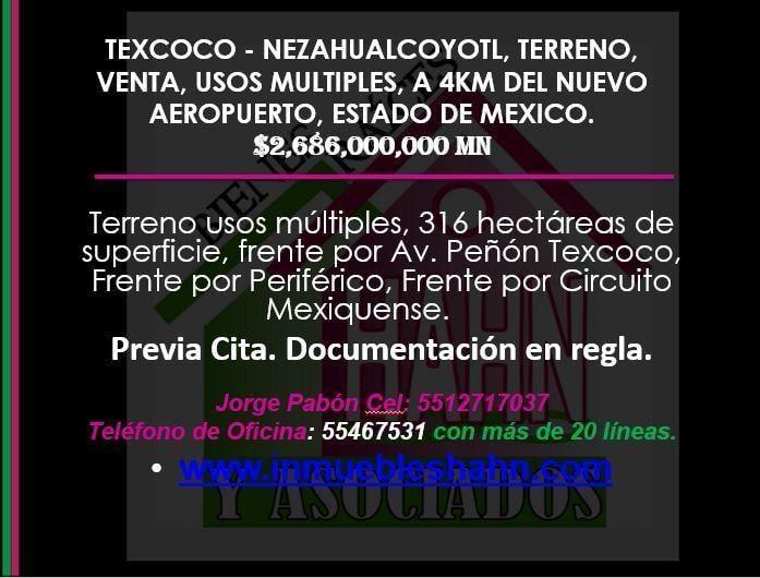 Foto Campo en Venta en  El Carmen,  Texcoco  TEXCOCO - NEZAHUALCOYOTL TERRENO VENTA A 4KM DEL NUEVO AEROPUERTO CDMX