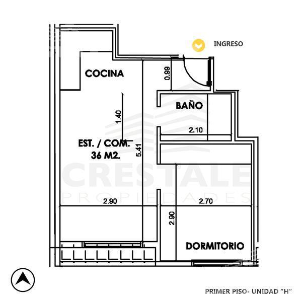 Venta departamento 1 dormitorio Rosario, zona Centro. Cod CBU9953 AP739739. Crestale Propiedades