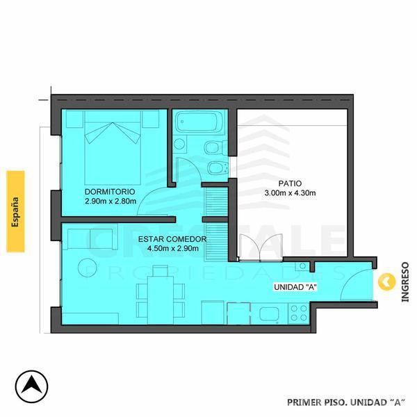 Venta departamento 1 dormitorio Rosario, zona Abasto. Cod 4246. Crestale Propiedades
