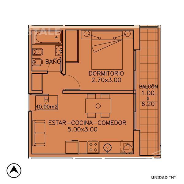 Venta departamento 1 dormitorio Rosario. Cod CBU7687 AP1222378. Crestale Propiedades