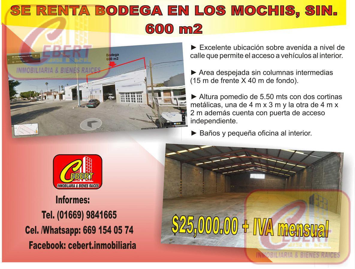 Foto Bodega Industrial en Renta en  AnAhuac,  Ahome  RENTA DE BODEGA DE 600 M2 EN LOS MOCHIS SINALOA