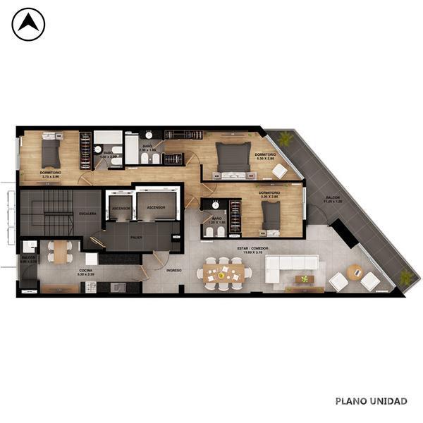 Venta departamento 3+ dormitorios Rosario, zona Centro. Cod CBU9579 AP711395. Crestale Propiedades