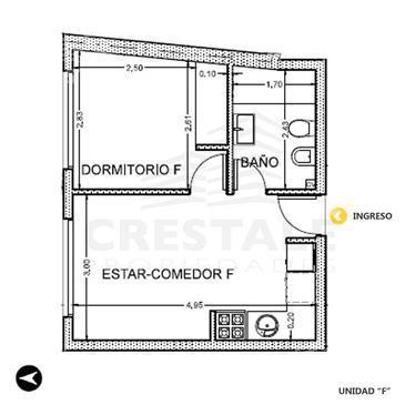 Venta departamento 1 dormitorio Rosario, zona Centro. Cod 2874. Crestale Propiedades