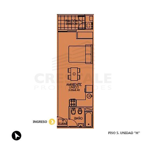 Venta departamento monoambiente Rosario. Cod CBU7685 AP656930. Crestale Propiedades