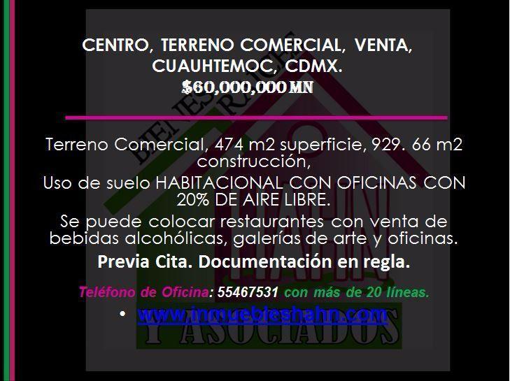 Foto Campo en Venta en  Centro (Area 4),  Cuauhtémoc  CENTRO, TERRENO COMERCIAL, VENTA, CUAUHTEMOC, CDMX.