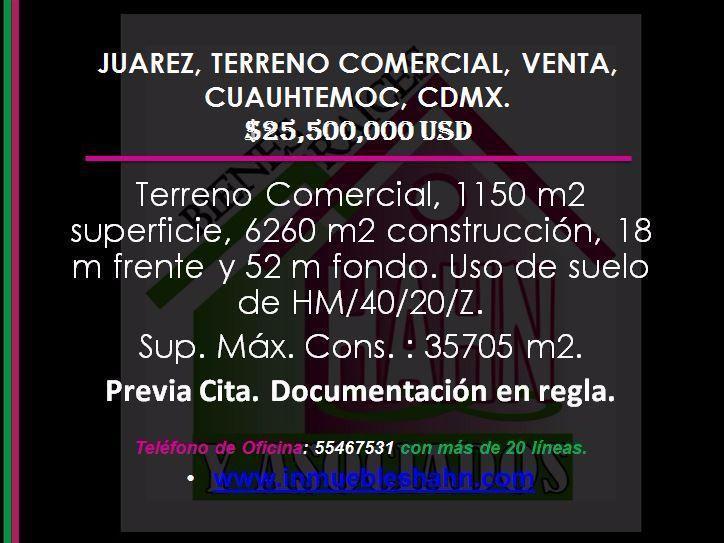 Foto Campo en Venta en  Juárez,  Cuauhtémoc  JUAREZ, TERRENO COMERCIAL, VENTA, CUAUHTEMOC, CDMX.