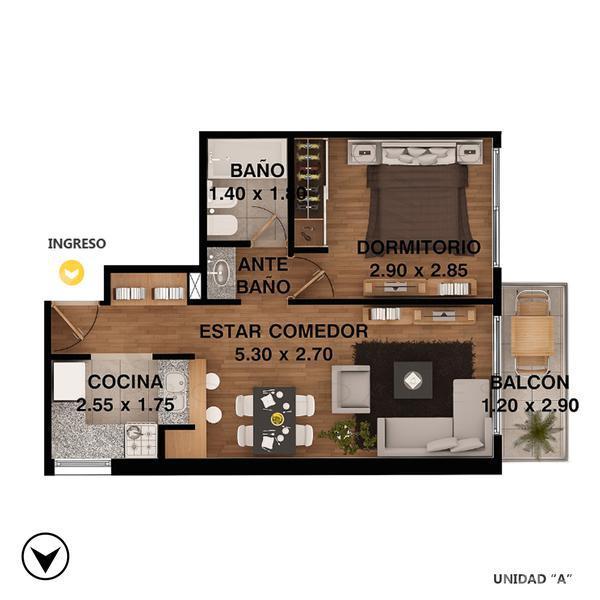 Venta departamento 1 dormitorio Rosario, zona Centro. Cod CBU10340 AP762385. Crestale Propiedades