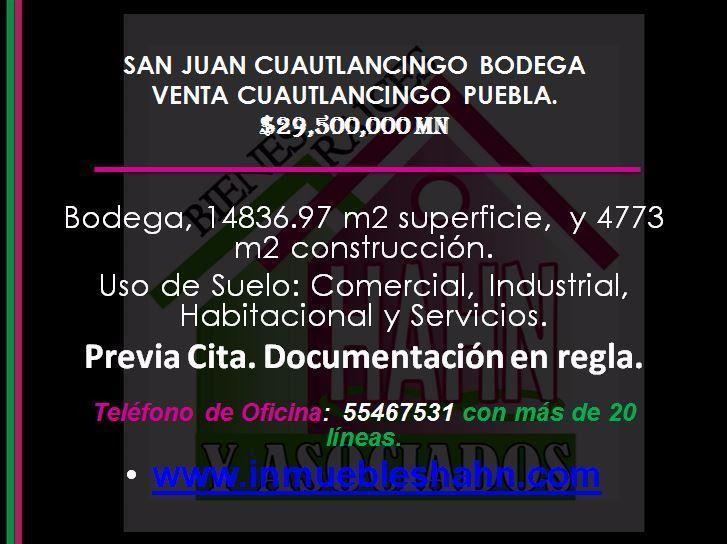 Foto Bodega Industrial en Venta en  San Juan Cuautlancingo Centro,  Cuautlancingo  SAN JUAN CUAUTLANCINGO, BODEGA, VENTA, CUAUTLANCINGO, PUEBLA.