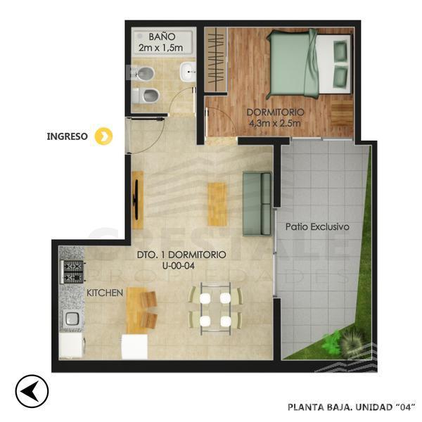 Venta departamento 1 dormitorio Rosario, zona Centro. Cod 4636. Crestale Propiedades