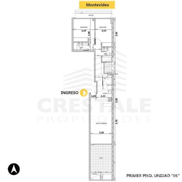 Venta departamento 2 dormitorios Rosario, zona Centro. Cod 4139. Crestale Propiedades