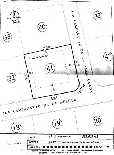 Foto Terreno en Venta en  Fraccionamiento El Campanario,  Querétaro  Terreno en Venta la Inmaculada Lote 41