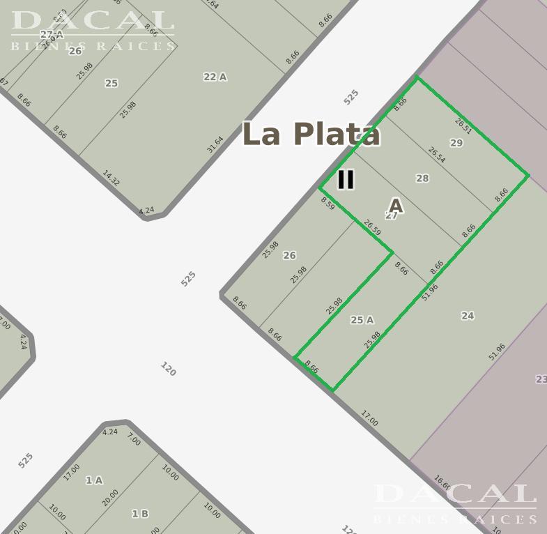 Terreno en Venta, 120 E/ 525 y 526 - La Plata - Buenos Aires