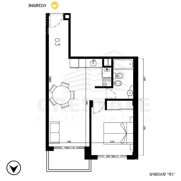 Venta departamento 1 dormitorio Rosario, zona Centro. Cod CBU8590 AP676381. Crestale Propiedades
