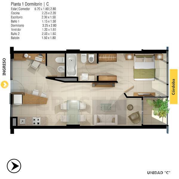 Venta departamento 1 dormitorio Rosario, zona Centro. Cod 4412. Crestale Propiedades