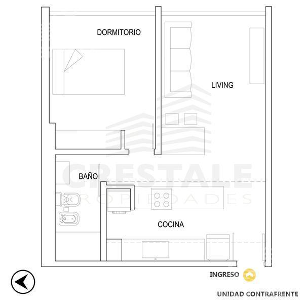 Venta departamento 1 dormitorio Rosario, zona Barrio La Siberia. Cod CBU11501 AP1111225. Crestale Propiedades