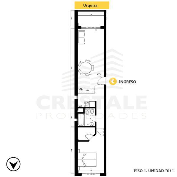 Venta departamento 1 dormitorio Rosario, zona Centro. Cod CBU8590 AP676335. Crestale Propiedades