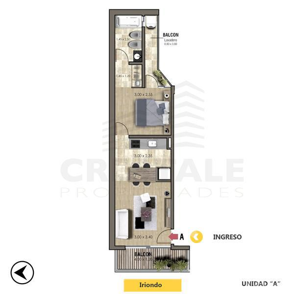 Venta departamento 1 dormitorio Rosario, zona Centro. Cod CBU11213 AP1098409. Crestale Propiedades