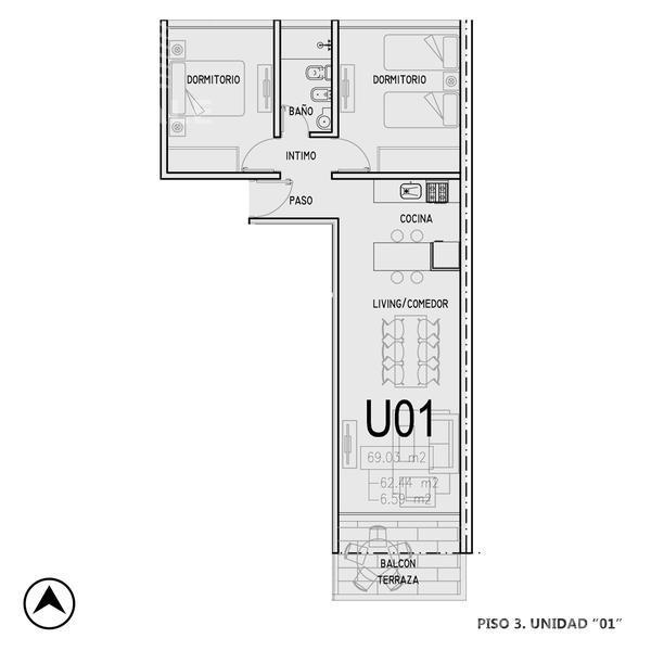 Venta departamento 2 dormitorios Rosario, zona Centro. Cod CBU12750 OF1224067. Crestale Propiedades