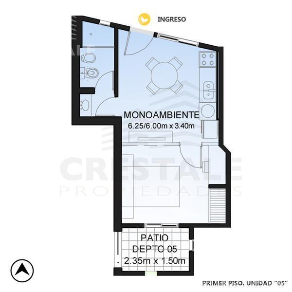 Venta departamento 1 dormitorio Rosario, zona Centro. Cod 4569. Crestale Propiedades