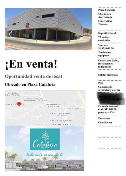 Foto Local en Venta en  Chihuahua ,  Chihuahua  Local comercial en Venta en Plaza Comercial por Cantera