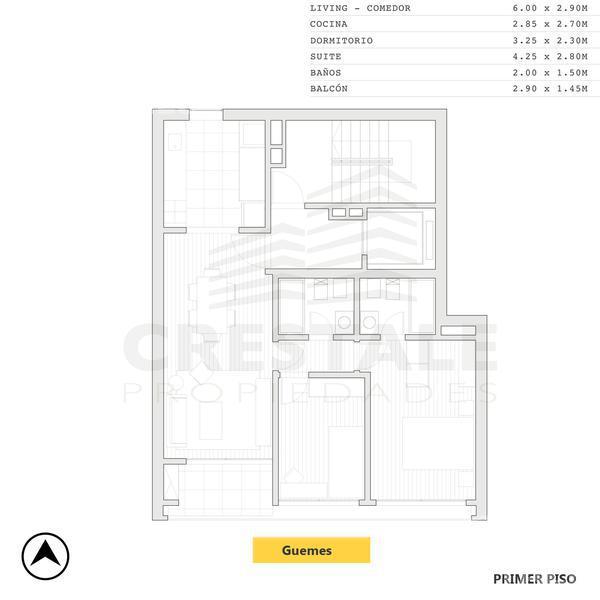 Venta departamento 2 dormitorios Rosario, zona Parque España. Cod CBU10184 AP754127. Crestale Propiedades