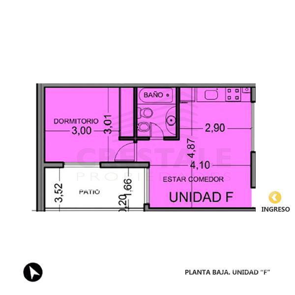 Venta departamento de pasillo 1 dormitorio Rosario, zona Centro Oeste. Cod CBU8196 PH1122855. Crestale Propiedades