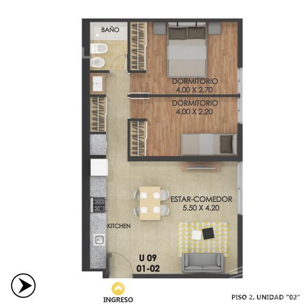 Venta departamento 2 dormitorios Rosario, zona Centro. Cod CBU12434 AP1192415. Crestale Propiedades
