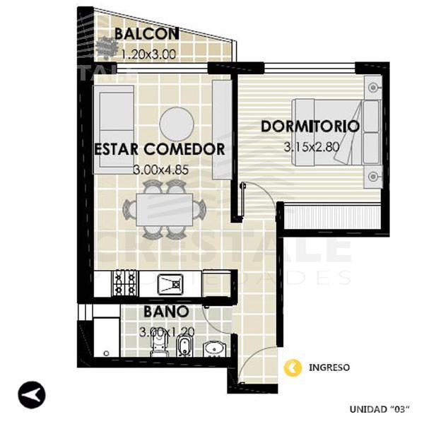 Venta departamento 1 dormitorio Rosario, zona Centro. Cod 3267. Crestale Propiedades