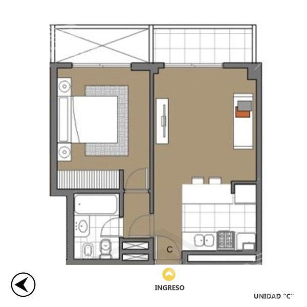 Venta departamento 1 dormitorio Rosario, zona Centro. Cod CBU11222 AP1164680. Crestale Propiedades